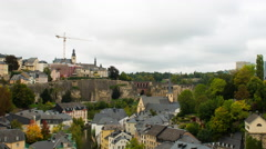 Time Lapse Zoom of Clouds passing over Luxembourg City - Europe Stock Footage