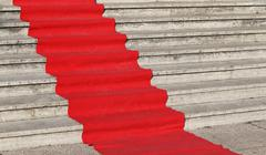 carpet for the catwalk of celebrities along the marble staircase - stock photo