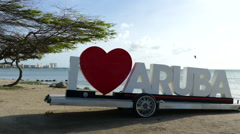 Close up from the I love Aruba sign Stock Footage