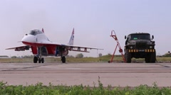 Mig 29 moves on runway on airshow Wings of Parma - stock footage