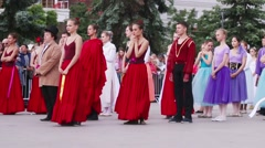 Dancers stand at festival day of Russia Stock Footage
