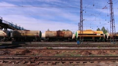 Wagons with tank goes on railway Stock Footage