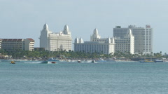 North Aruba skyline with hotels and watersport activities - stock footage