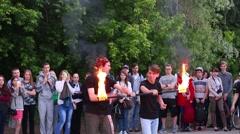 Two men spew fire. Open rehearsal of fire-eaters Stock Footage