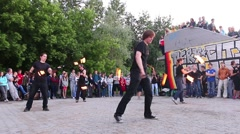 Show with fire. Open rehearsal of fire-eaters - stock footage