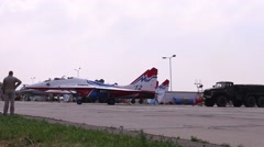 Mig 29 accelerated on runway on airshow Wings of Parma Stock Footage