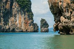 The Ochre Colours of the Rock Glow in Reds and Browns. Islands at Phang Nga Stock Photos