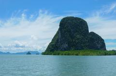 Cliffs Along the Bay surrounded by Islands with Mangroves - stock photo