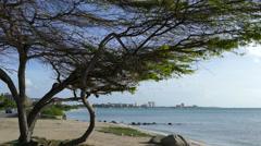 Hotel skyline in north Aruba Stock Footage