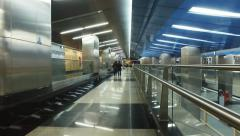 "Stock Video Footage of futuristic design of the metal at the metro station ""Business Center"""