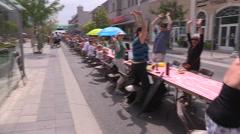 Worlds longest outdoor picnic in Kitchener ontario Stock Footage