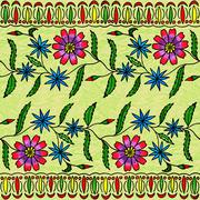Seamless floral hand-drawing gouache - stock illustration