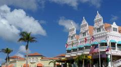 Colorful Royal Plaza Mall in Oranjestad Aruba Stock Footage