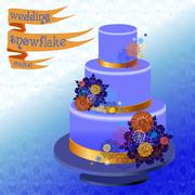 Stock Illustration of Wedding cake with winter snowflakes design. Vector illustration.