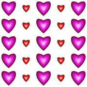Seamless pattern with hearts - stock illustration
