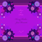 Winter wedding frame with violet and blue snowflakes. - stock illustration