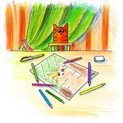 Cat's everyday life - stock illustration