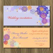 Stock Illustration of Winter snowflakes design wedding invitation card. Wedding Vector illustration