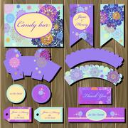Set of printable backgrounds to wedding. Candy bar design. - stock illustration