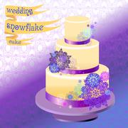 Wedding cake with winter snowflakes design. Vector illustration. - stock illustration