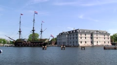 View to the National Maritime museum building in Amsterdam, Netherlands. - stock footage