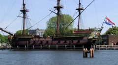 Replica of the traditional ship in Amsterdam, Netherlands. - stock footage