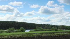 Movement of the clouds over the field. Pochinok village, Sverdlovsk region Stock Footage