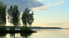 Stock Video Footage of Movement of clouds over the Beloyarsk reservoir. Beloyarsk, Sverdlovsk region,