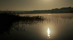 Starry Moonlit night on the river Seversky Donets, Rostov Region, Russia Stock Footage