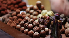 Christmas chocolates on the counter of the New Year market Stock Footage