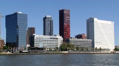 View to the Mass river and the city in Rotterdam, Netherlands. Stock Footage