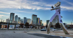 Timelapse Traveling Man Sculpture at Elm Station - stock footage
