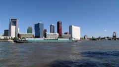 View to the ship passing by the Mass river in Rotterdam, Netherlands. Stock Footage