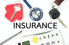 Insurance concept for home car health and life insurance with calculator - stock photo