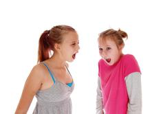 Two sisters screaming at each other. Stock Photos