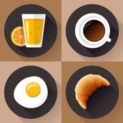 Breakfast icon set. Juice glass, coffee, egg and croissant. Flat designed style. Stock Illustration