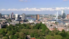 Aerial view to the Rotterdam city in Rotterdam, Netherlands. Stock Footage