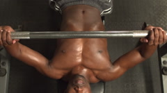 Stock Video Footage of Above view of a fit man lifting dumbbell