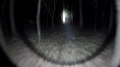 POV shot as you walk through a spooky scary forest at night. Stock Footage
