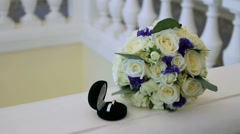 Bride's wedding bouquet. - stock footage