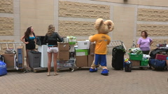University and college students move in residence at Ryerson campus in Toronto Stock Footage