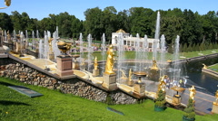 The fountains in Peterhof, Saint Petersburg. Stock Footage