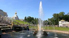 Samson Fountain, St. Petersburg, Peterhof, Russia. - stock footage