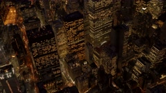 Stock Video Footage of breathtaking aerial shot of modern skyline city at sunset. cityscape view