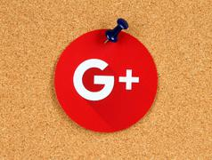 Kiev, Ukraine - October 07, 2015: New Google Plus logo sign printed on paper, Stock Photos