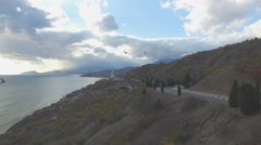 Aerial video of the sea, coast and mountains Stock Footage