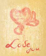 """Hand drawing heart with quote """"Love you"""" on grunge textured backgro - stock illustration"""