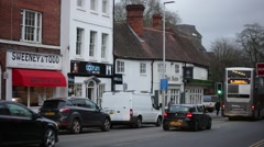 English pub and a pie shop, Reading, England Stock Footage