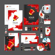corporate identity template with red elements pencil - stock illustration