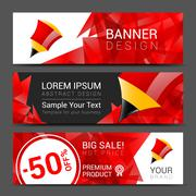 Vector vertical banners collection with abstract multicolored polygonal crystal - stock illustration